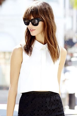 Shes the Business Ivory Sleeveless Crop Top
