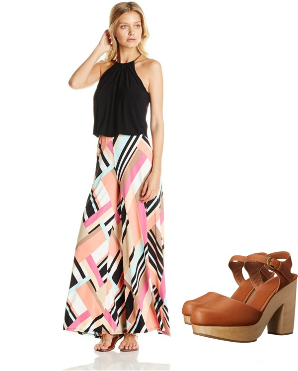 Solid Top Printed Bottom Jumpsuit