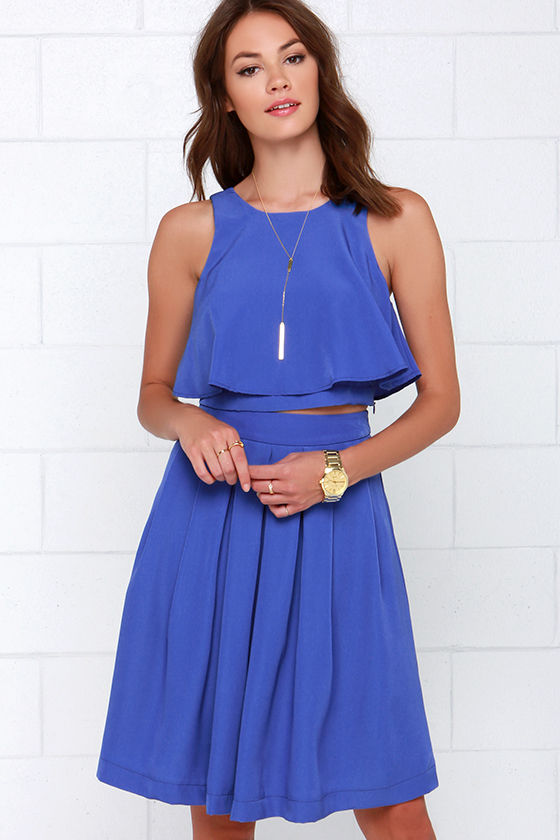 State of Dreaming Blue Two-Piece Midi Dress