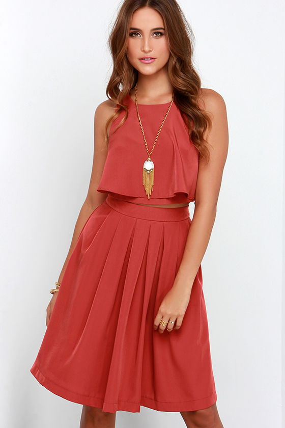 State of Dreaming Rust Red Two-Piece Midi Dress