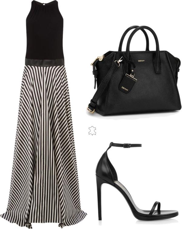 monochrome trend stripe maxi dress