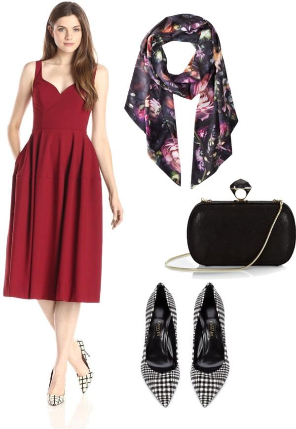rich marsala dress + scarf