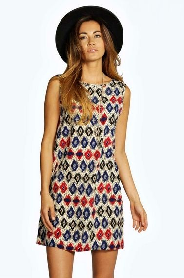 Aztec Print Sleeveless Woven Shift Dress