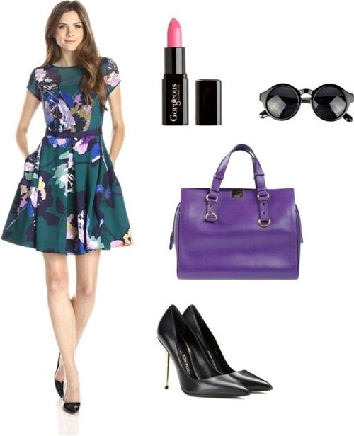 Cap-Sleeve Floral Fit-and-Flare Dress with Bow