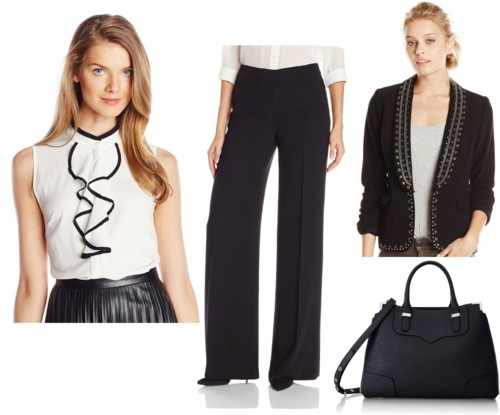 Career Blouse + Black High Waist Wide Leg Pants