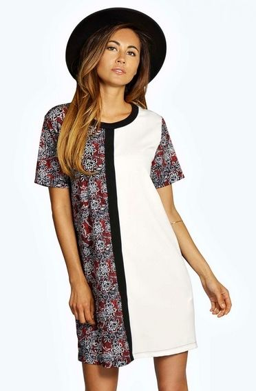 Contrast Print Mini Shift Dress