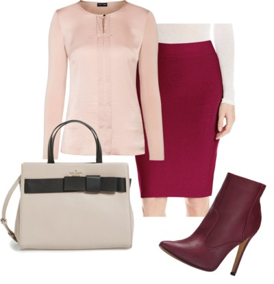 Cranberry pencil skirt outfit for work