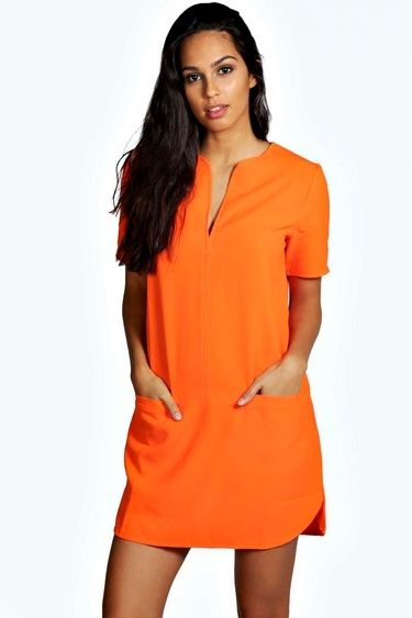 Crepe Curved Hem Shift Dress