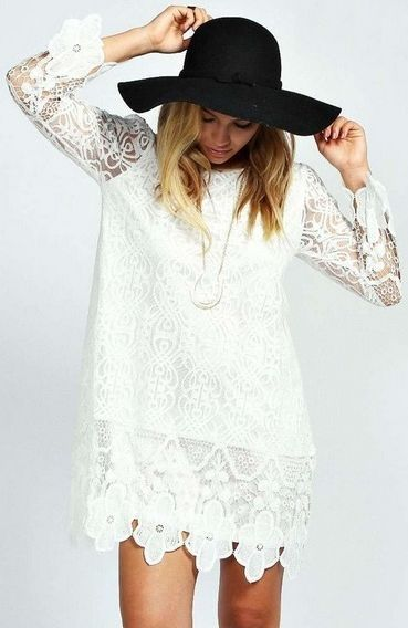 Flower Lace Long Sleeve Smock Dress