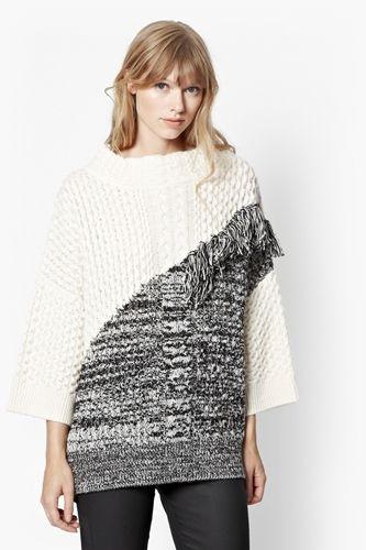Fringed-Cable-Knit-Jumper