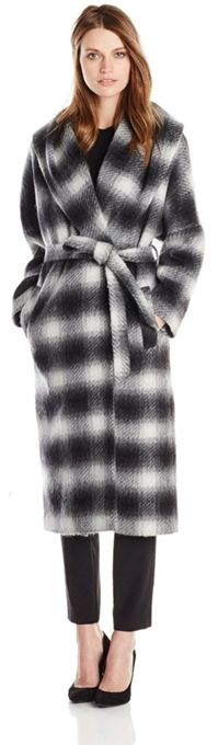 Helene Berman Women's Shawl Collar Long Wrap Coat