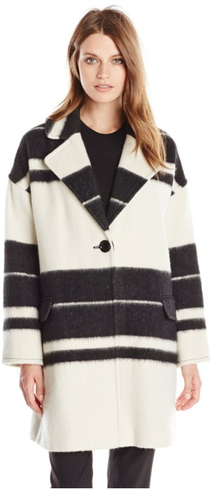 Helene Berman Women's Striped Edge-To-Edge Coat