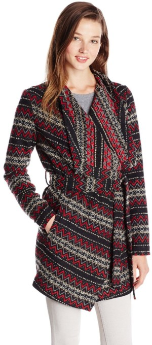 Jack by BB Dakota Women's Brendi Draped Patterned Coat with Tie Belt