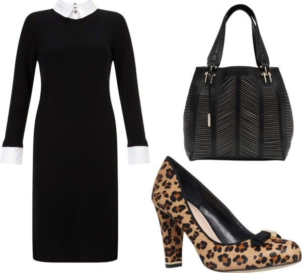 Leopard Print Block Heeled Court Shoes