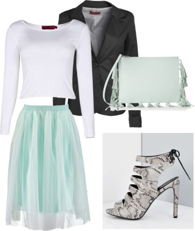 Mint Mesh Midi Skirt With Embellishment