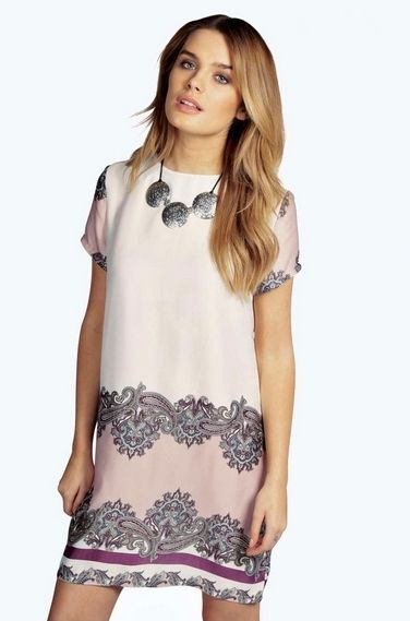 Paisley Print Cap Sleeve Shift Dress