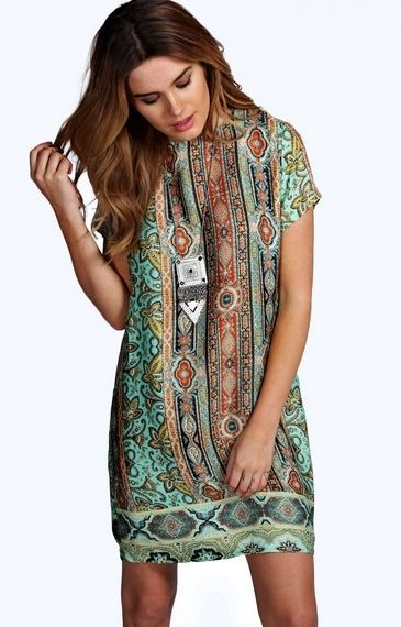 Panelled Paisley Print Cap Sleeve Shift Dress