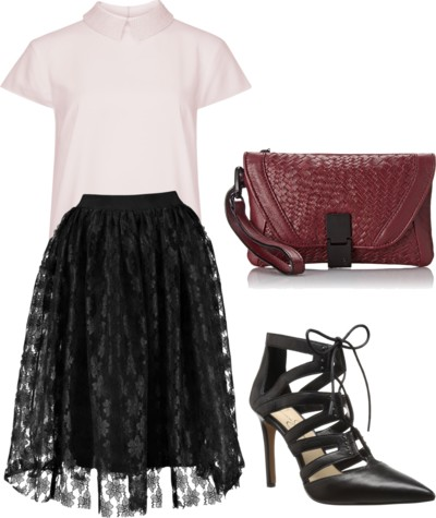 Rose Contrast Lace Full Midi Skirt