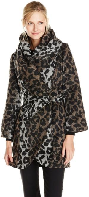 T Tahari Women's Marla Leopard Wrap Coat