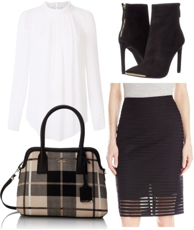 black pencil skirt outfit for work