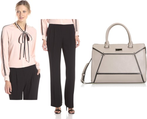 blouse with scarf + pleated wide leg pants