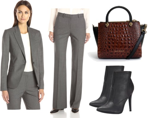 classic twill jacket + pants set in gray for work