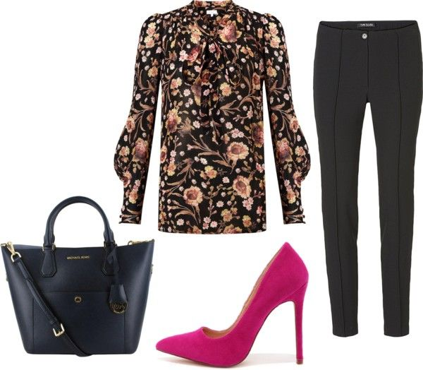 floral print blouse work outfit