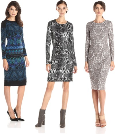 long sleeve printed work dresses for fall