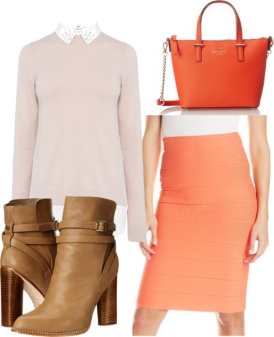 orange pencil skirt outfit for work