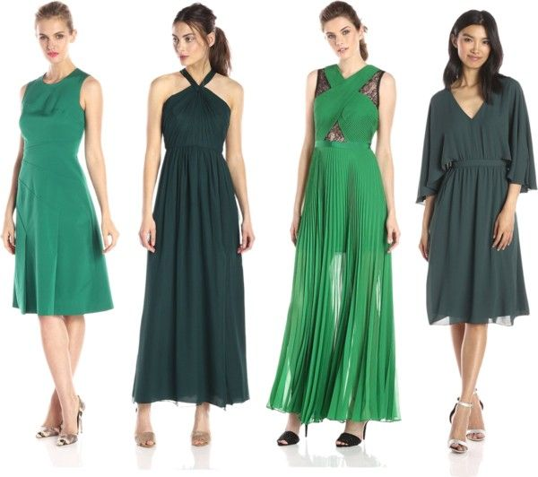 pine green party dresses
