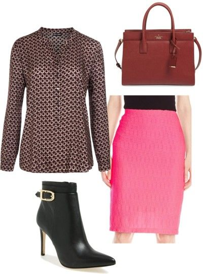 pink pencil skirt outfit for work