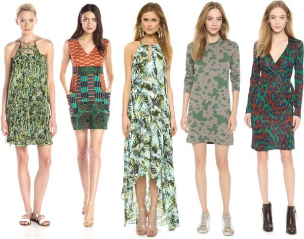 printed dresses pine green