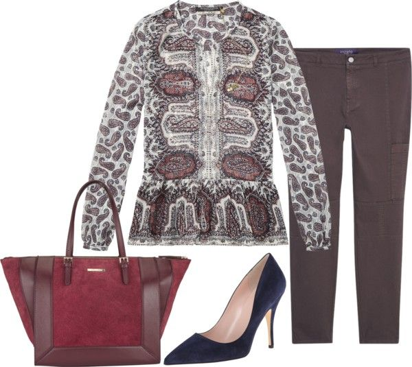 printed peplum blouse work outfit