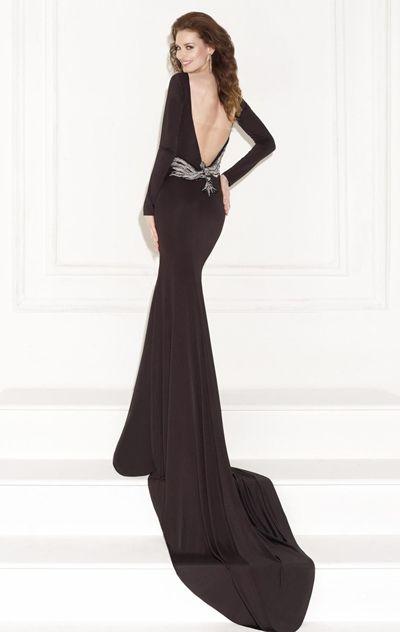 Beaded Bateau Neckline Jersey Gown by Tarik Ediz