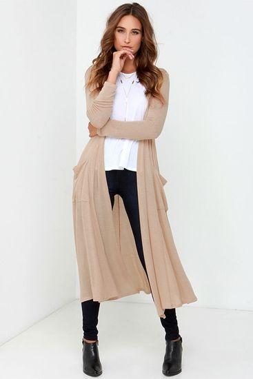 Beige Long Cardigan Sweater