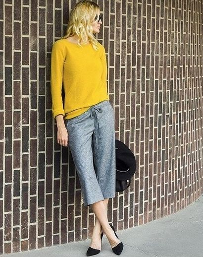 Bright Pullover + Textured Drawstring Gaucho Pants