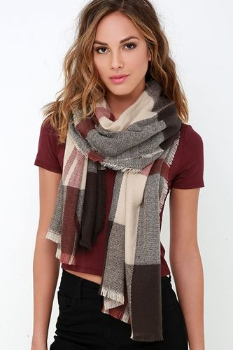 Brown and Beige Plaid Scarf