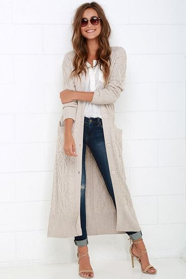 Cable Knit Beige Long Cardigan Sweater