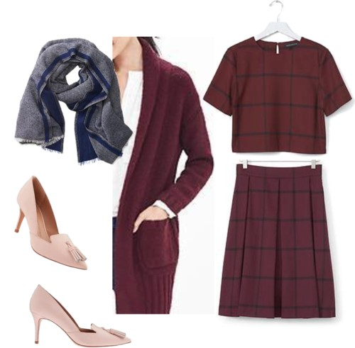 Check Cropped Top + Full Pleated Skirt