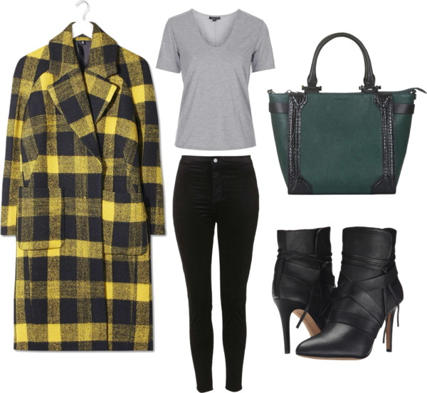 Checked Car Coat Outfit