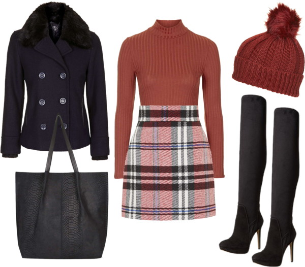 Checked High Waist Skirt with Thigh High Boots