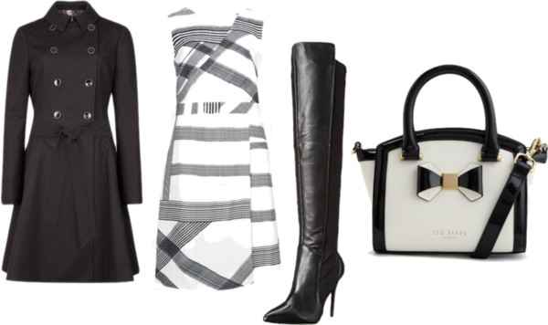 Checked wrap dress + over the knee boots