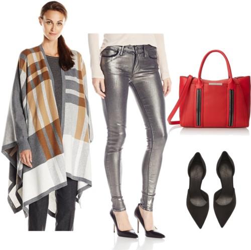 Checkered Poncho + Metallic Skinny Jeans