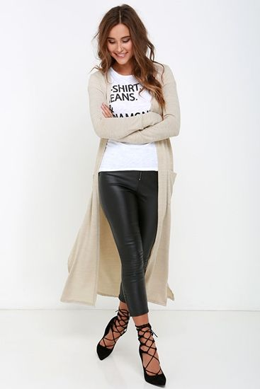 Long Way Home Beige Long Cardigan Sweater