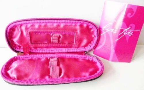 Mary Kay Lip Trio Lipstick Liner and Lip Gloss Compact Case Hot Pink and Black with Mirror