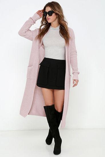 Mauve Long Cardigan Sweater