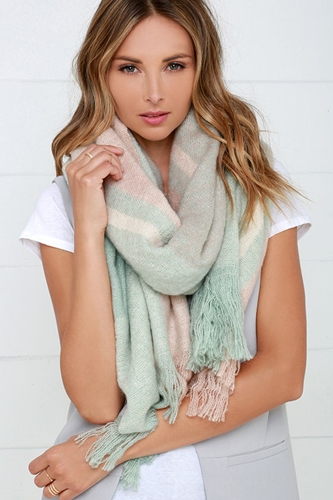 Mint and Blush Pink Plaid Scarf