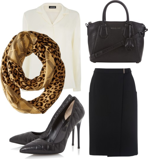 Monochrome Outfit with Double Sided Infinity Scarf