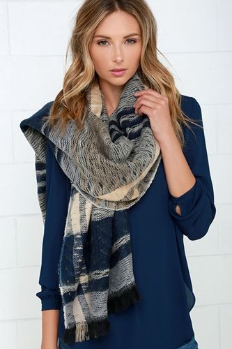 Navy Blue and Beige Plaid Reversible Scarf