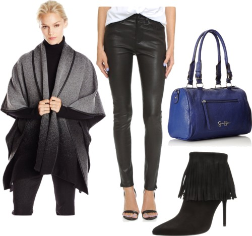 Ombre Poncho + Leather Leggings